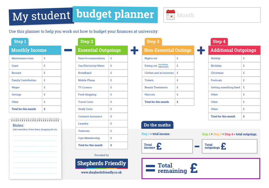 Shepherds Friendly University student budget planner
