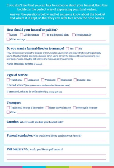 your final wishes  funeral considerations and checklist