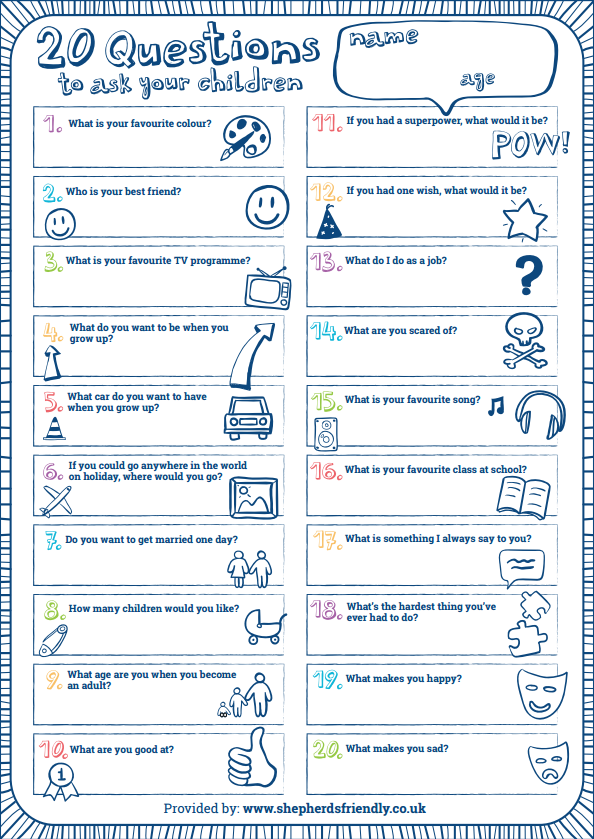 20 questions to ask children shepherds friendly - One of your students left their book on the table ...