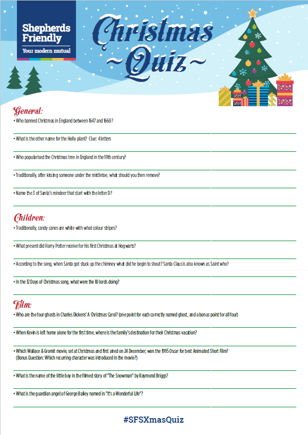 Christmas Quiz For The Family Printable