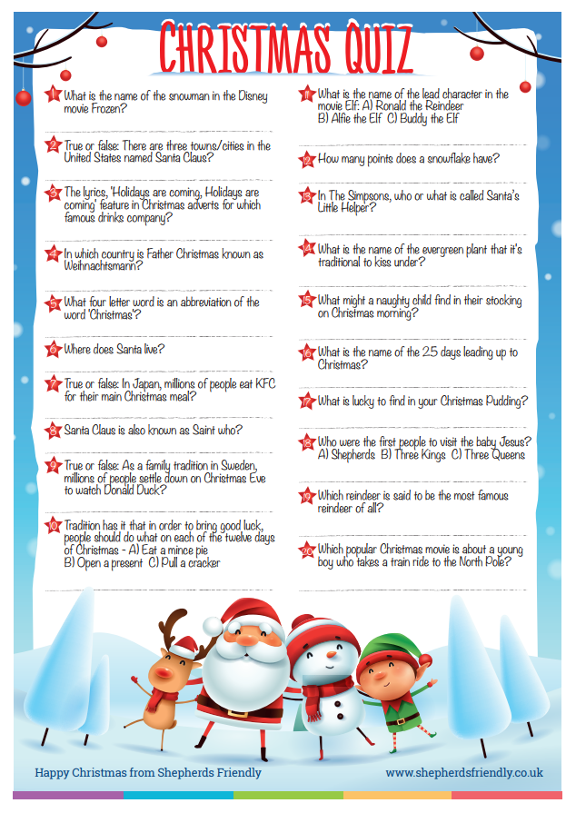 Christmas quiz for kids | Shepherds Friendly Society
