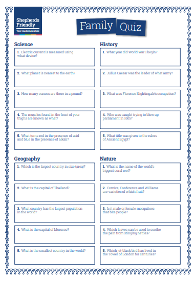 photograph regarding Printable Trivia Questions for Middle School Students identify Spouse and children quiz for all ages [Downloadable] Shepherds Helpful
