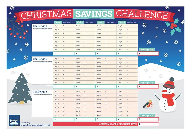 Christmas Savings Challenge- Worksheet