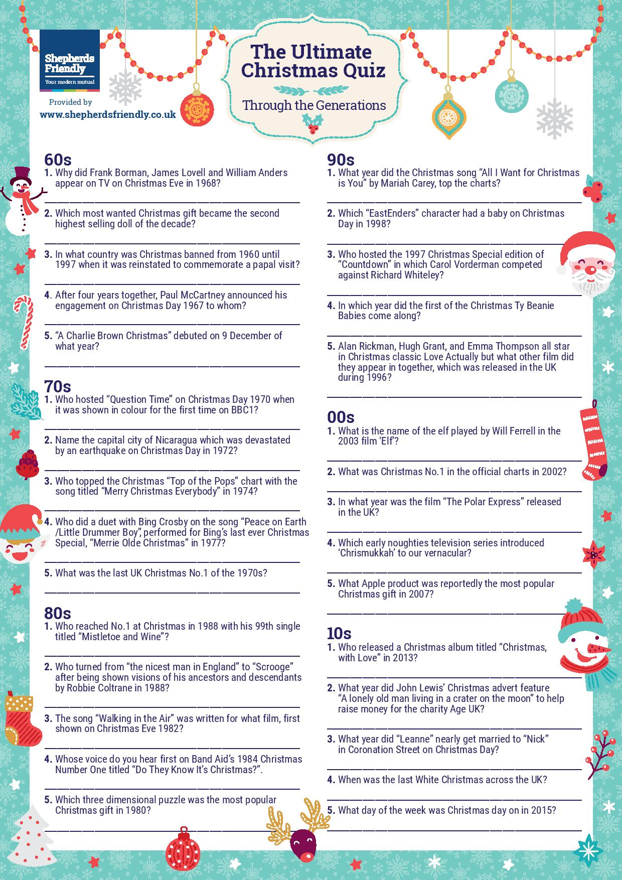 The Ultimate Christmas Quiz Through The Generations Printable